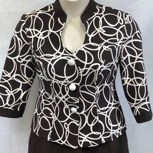 Dana Kay brown and white print blazer